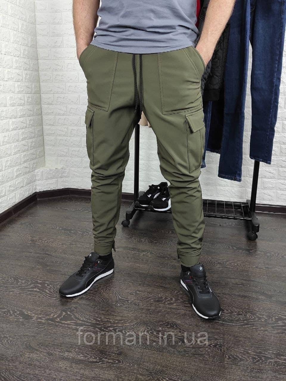 Мужские утеплённые штаны карго SoftShell хаки