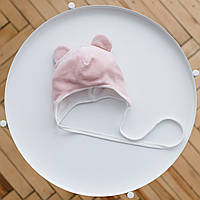 "Велюровая шапочка с ушками ""Tessera"" 0-3, 3-6, 6-12 мес (розовая)"
