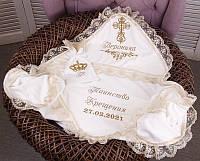 Именная крыжма для крещения, с мешочком для первых волос, айвори, фото 1