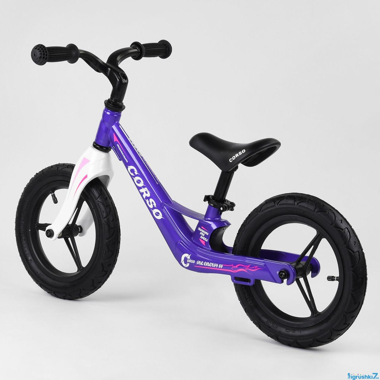 """Велобег Corso 22709  колеса 12"""" надувные, магниевая рама, магниевый руль"""