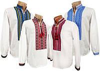 Украинская мужская вышиванка белого цвета с тканой нашивкой