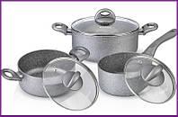 Набор кухонной посуды кастрюли с крышками Fissman MOON STONE 2 кастрюли и ковшик с крышками FN-AL-4401