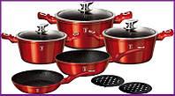 Набор кастрюль кухонной посуды с толстым дном антипригарное покрытие Berlinger Haus Burgundy 10 предметов 1222
