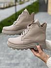 Жіночі черевики шкіряні Yuves весна/осінь байка бежеві, фото 2