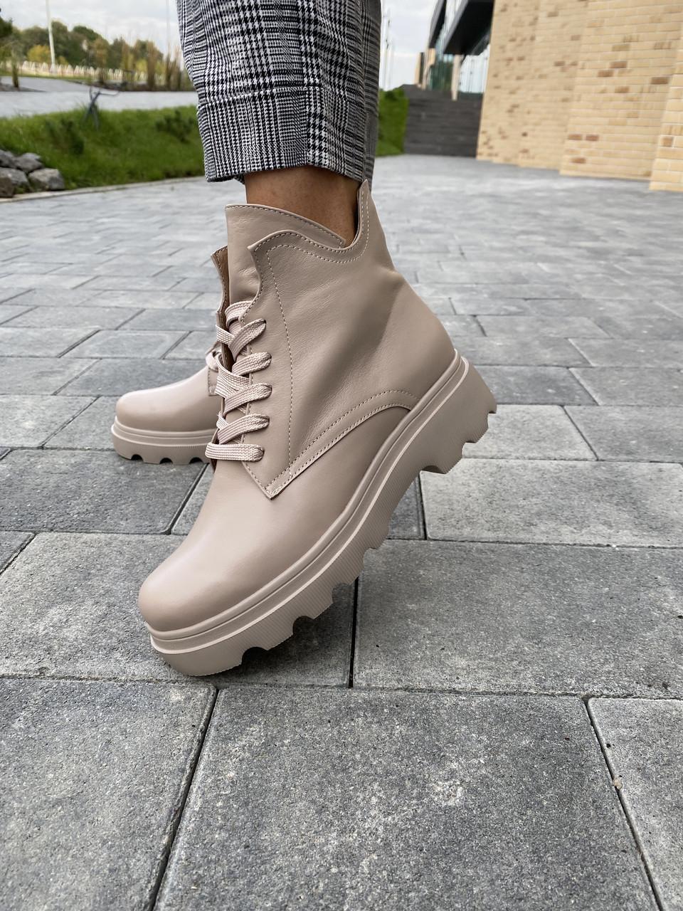 Жіночі черевики шкіряні Yuves весна/осінь байка бежеві