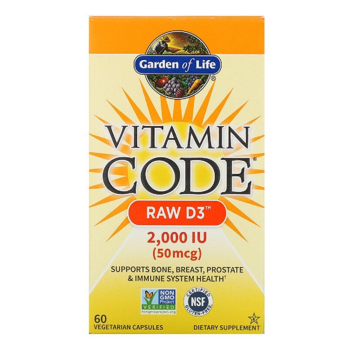 Сырой Витамин D3, RAW D3, Vitamin Code, Garden of Life, 2000 МЕ (50 мкг), 60 вегетарианских капсул