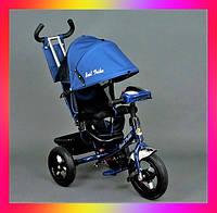 Детский трехколесный велосипед коляска Baby Trike 6588 с игровой панелью и ключем зажигания Синий