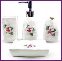 """Набор аксессуаров Floral """"Фиалка"""" для ванной комнаты 4 предмета, керамика ST-888-130"""