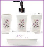 """Набор аксессуаров Floral """"Полевые цветы"""" для ванной комнаты 4 предмета, керамика ST-888-137"""