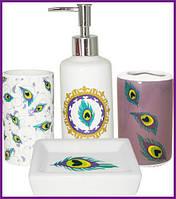"""Набор аксессуаров """"Павлиний глаз"""" для ванной комнаты 4 предмета, керамика ST-888-06-015"""