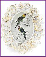 """Рамка для фотографий фоторамка Tudor """"Розы"""" овальная, фото 7х9см (белый с золотом) BD-450-139"""