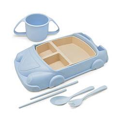 """Набор посуды для детей Stenson R87744 """"Машина"""", из пшеничной шелухи, 6 предметов, голубой"""