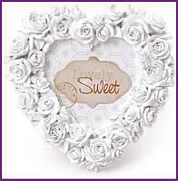 "Рамка для фотографий фоторамка Sweet White ""Белые Розы"" форма сердца 16х16см BD-493-510"