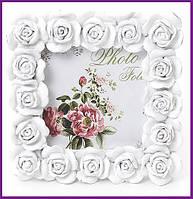 "Рамка для фотографий фоторамка Sweet White ""Белые Розы"" квадратная 10.5х10.5см BD-493-512"