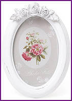 "Рамка для фотографий фоторамка Sweet White ""Белые Розы"" овальная 19х13.5см BD-493-517"