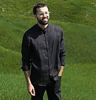 Чоловіча класична сорочка, 100% льон (модель Classiс, колір чорний)