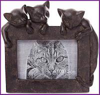 """Рамка для фотографий фоторамка """"Три котенка"""" 10х15см, искусственный камень BD-447-320"""