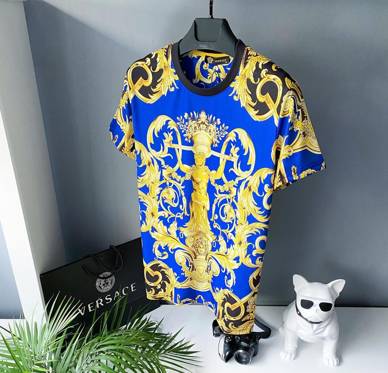 Яскрава Футболка версаче versace річна синього кольору синя футболка чоловіча футболка