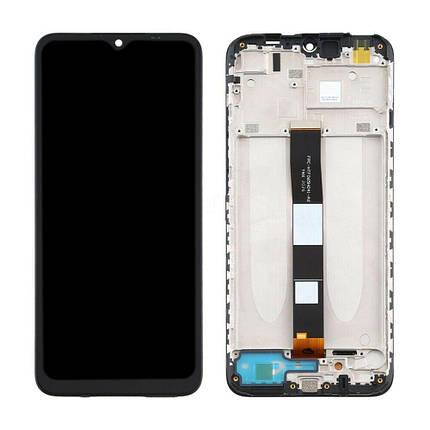 Дисплей (экран) для Xiaomi Redmi 9A с сенсором (тачскрином) и рамкой черный Оригинал, фото 2