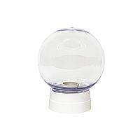 Светильник на прямом белом основании (со ступенькой) с рассеивателем 15 см прозрачный, фото 1