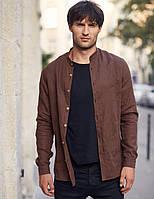 Чоловіча класична сорочка, 100% льон(модель Classiс, колір коричневий), фото 1