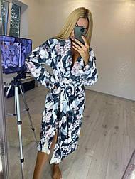 Женский мягкий длинный халат с поясом баталы (большие размеры)