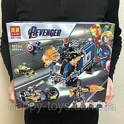 Конструктор Мстители Марвел Нападение на грузовик, Капитан Америка 501 деталь Lari 11506
