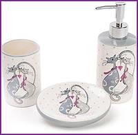 Набор для ванной Влюбленные коты дозатор подставка для щеток и мыльница BD-DM940-L
