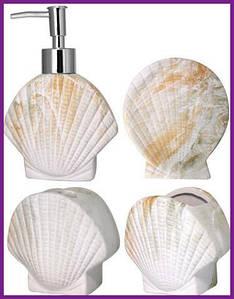 Набор аксессуаров для ванной комнаты Ракушка для ванной комнаты 4 предмета (дозатор мыла мыльница стакан для