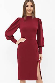 Женское приталенное платье миди с длинным рукавом фонарик | креп-дайвинг | бордовый