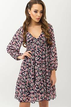 Легкое шифоновое платье с завышенной талией с цветочным принтом | синий букет цветов