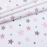 """Фланель дитяча """"Рожеві і сірі зірки з зірками всередині"""", ширина 240 см, фото 2"""
