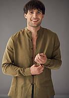 Чоловіча класична сорочка, 100% льон (модель Classiс, колір хакі)