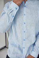 Чоловіча класична сорочка, 100% льон (модель Classiс, колір голубий)