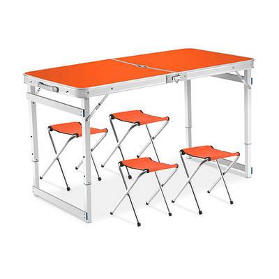 Складной столик чемодан для пикника, кемпинга 120 на 60 см с 4-мя стульями Folding Table оранжевый 184698