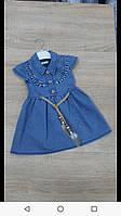 Платье джинсовое для девочки на 2-5 лет синего цвета оптом