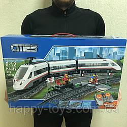 Конструктор Сити Пассажирский поезд, конструктор Железная дорога на радиоуправлении 628 деталей