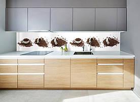 """Скинали на кухню Zatarga """"Кавові чашки"""" 650х2500 мм білий вінілова 3Д Наліпка кухонний фартух для стін,"""