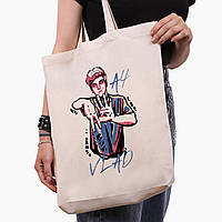 Эко сумка шоппер белая блогер Влад Бумага А4 (blogger Vlad A4) (9227-2621-1)  41*39*8 см , фото 1