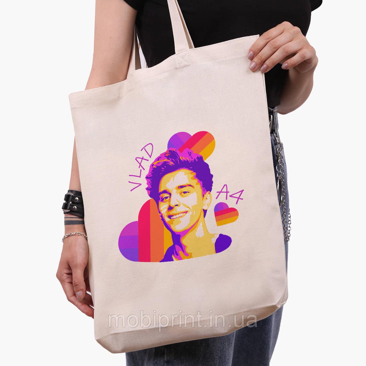 Эко сумка шоппер белая блогер Влад Бумага А4 (blogger Vlad A4) (9227-2622-1)  41*39*8 см