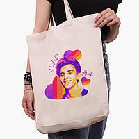 Эко сумка шоппер белая блогер Влад Бумага А4 (blogger Vlad A4) (9227-2622-1)  41*39*8 см , фото 1
