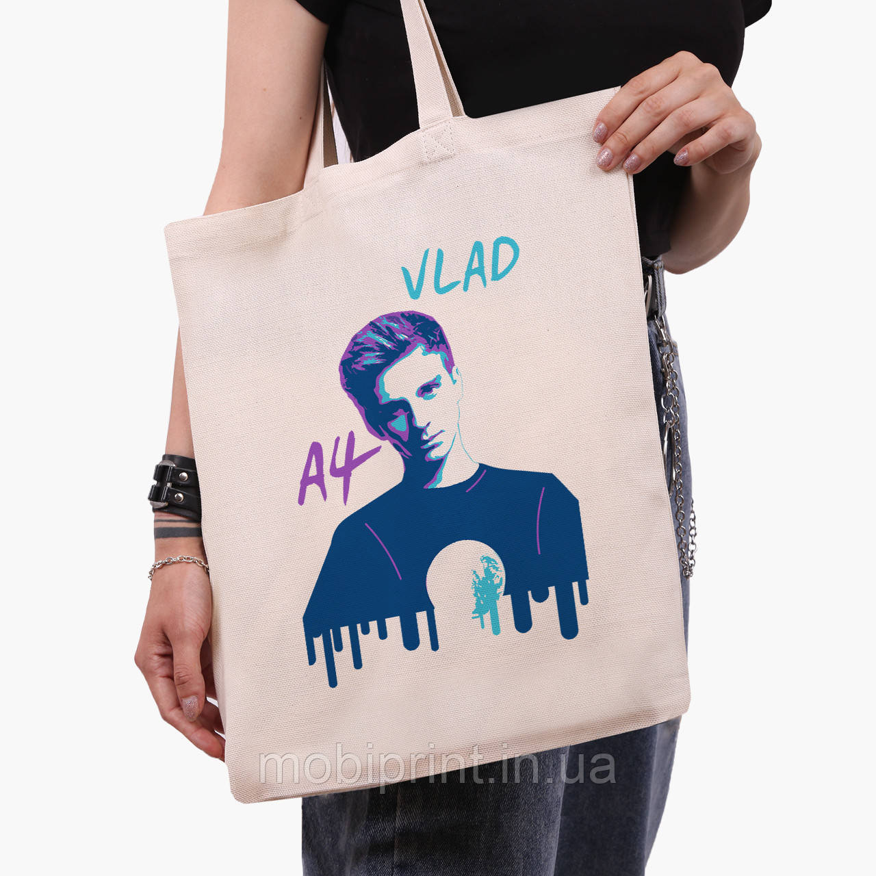 Эко сумка шоппер блогер Влад Бумага А4 (blogger Vlad A4) (9227-2623)  41*35 см