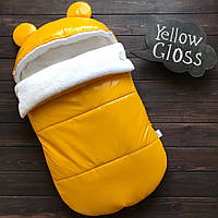 "Зимний Конверт-кокон для выписки из роддома ""Gloss"" желтый"