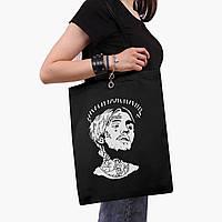 Эко сумка шоппер черная Лил Пип (Lil Peep) (9227-2634-2)  41*35 см , фото 1