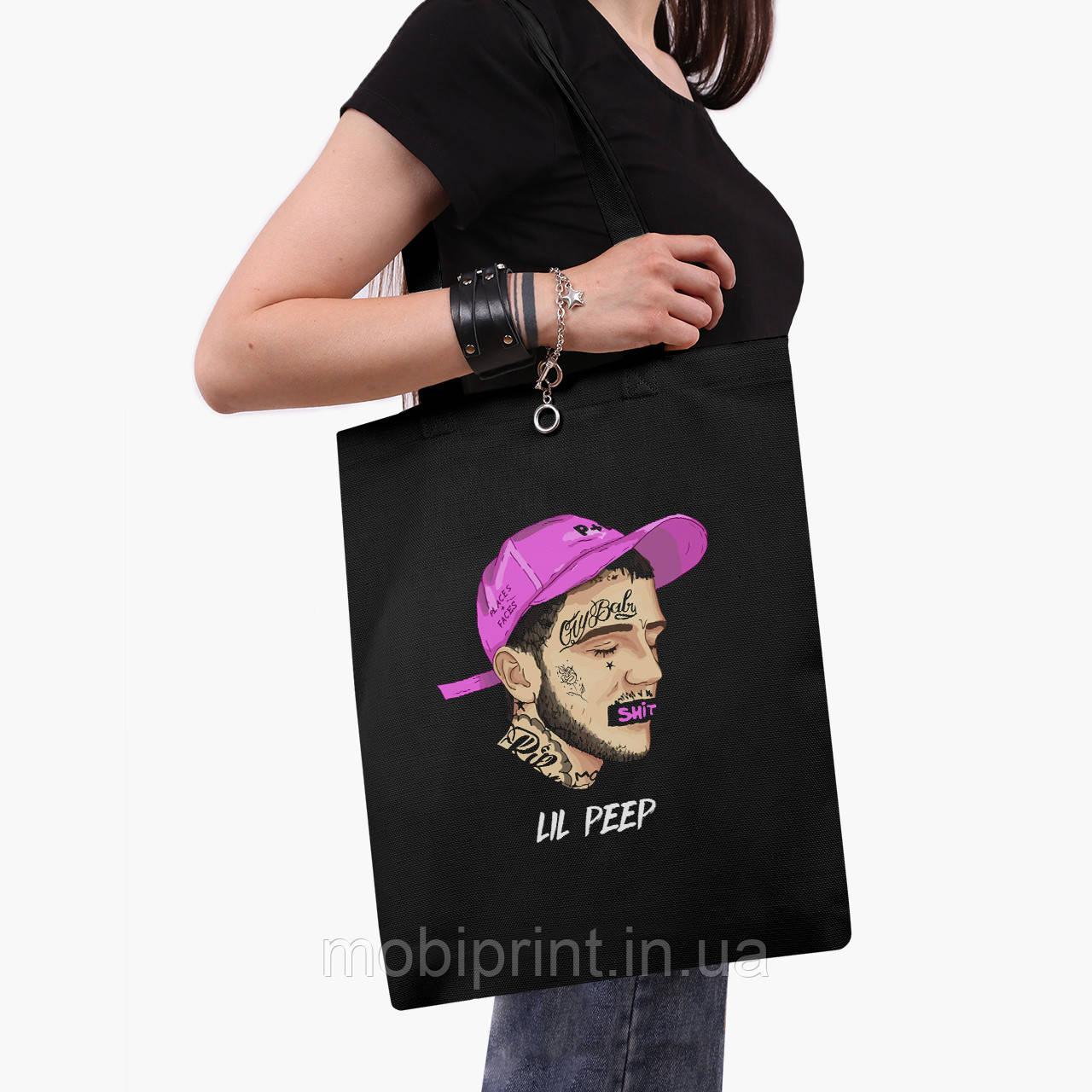 Еко сумка шоппер чорна Лив Піп (Lil Peep) (9227-2635-2) 41*35 см