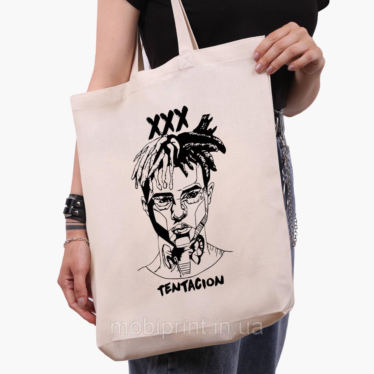 Еко сумка шоппер біла Екс-екс-екс Тентасьон (XXXTentacion) (9227-2637-1) 41*39*8 см