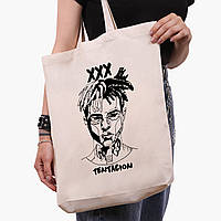 Еко сумка шоппер біла Екс-екс-екс Тентасьон (XXXTentacion) (9227-2637-1) 41*39*8 см, фото 1