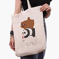 Эко сумка шоппер белая Вся правда о медведях (We Bare Bears) (9227-2643-1)  41*39*8 см, фото 1