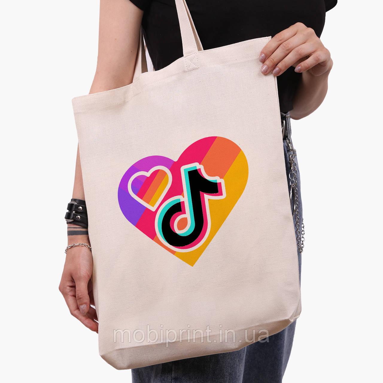 Эко сумка шоппер белая ТикТок (TikTok) (9227-1559-1)  41*39*8 см