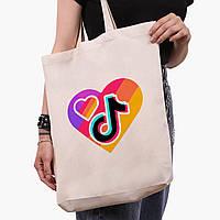 Эко сумка шоппер белая ТикТок (TikTok) (9227-1559-1)  41*39*8 см , фото 1